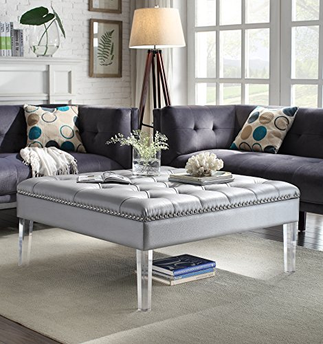 Iconic Home Twain Modern Oversized Tufted Silver Leather Acrylic Cocktail Ottoman