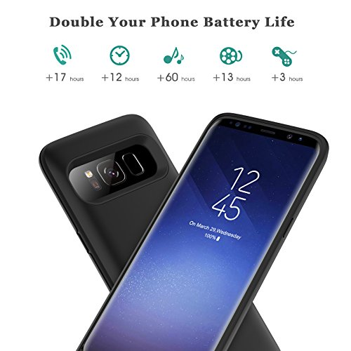 Galaxy S8 Plus Battery Case 6500mah,Rechargeable Charging Case for Samsung Galaxy S8 Plus Backup Power Case Samsung S8+ Battery Cover-Black by Pxwaxpy (Image #2)