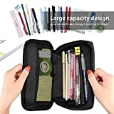 ProCase Pencil Bag Pen Case, Large Capacity Students Stationery Pouch Pencil Holder Desk Organizer, Portable Pencils Pens Pouch for School & Office Supplies -Black