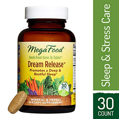 30 Tablets Sleep - MegaFood - Dream Release, Promotes Mental Calm to Support Deep Relaxation and Restorative Sleep with Ashwagandha and Valerian Root, Vegan, Gluten-Free, Non-GMO, 30 Tablets