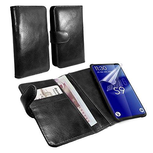 Tuff-Luv Vintage Leather Wallet / Stand Case Cover for Samsung Galaxy S9 Plus – Black