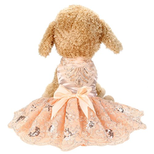 OOEOO Pet Dress, Sequins Lace Outfit Bow Skirt Dog Cat Apparel Princess Wedding Dresses Puppy Clothes (Pink, L)