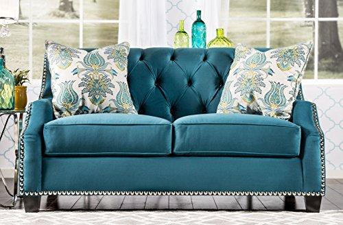 Furniture of America Schaffner Contemporary Tufted Love Seat, Azure Blue
