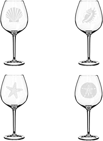 Sea Shells Seashore Collection Set Of 4 Stemless Wine Glass Goblet 17oz