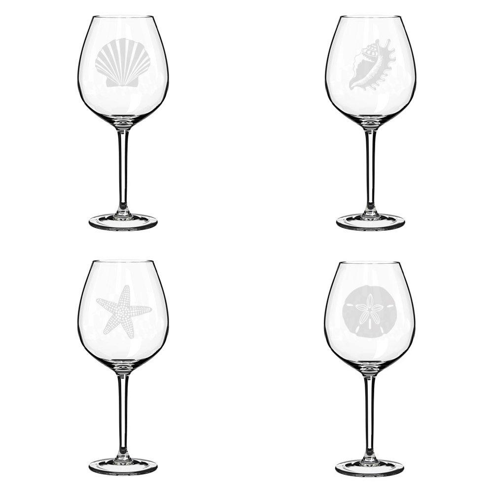 Set of 4 Wine Glass Goblet Sea Shells Sea Shore Collection (20 oz Jumbo)