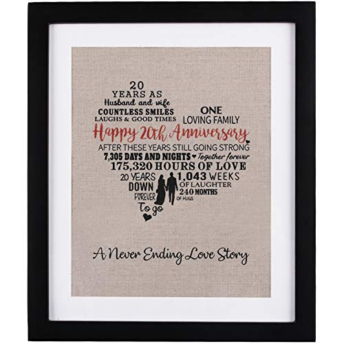 20 Years of Marriage Burlap Art with Frame, 20th Wedding Anniversary Gifts for Wife, 20th Anniversary Gifts for - Wedding Anniversary Gifts 20th