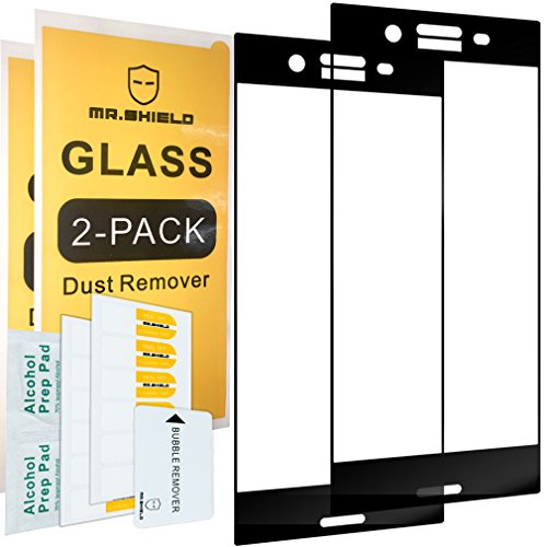 [2-PACK]-Mr Shield For Sony Xperia XZ Premium [Tempered Glass] [Full Cover] [Black] Screen Protector with Lifetime Replacement Warranty