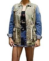 Urban Camo Jacket Contrast Denim Distressed Sleeve
