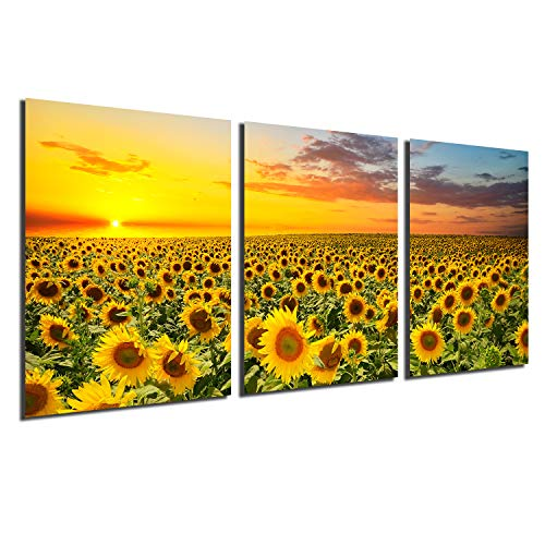 Sunflower Canvas Print Wall Art - Sunset Landscape Pictures Modern Painting Sunset Flowers Home Office Decorations Bedroom Kitchen Decor Yellow Flowers Giclee Artwork 3 Panels unframed 12x16 inch (Office Flowers For Decoration)