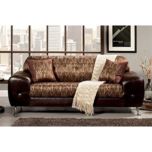 Furniture of America Cowell Leather Sofa in Gold