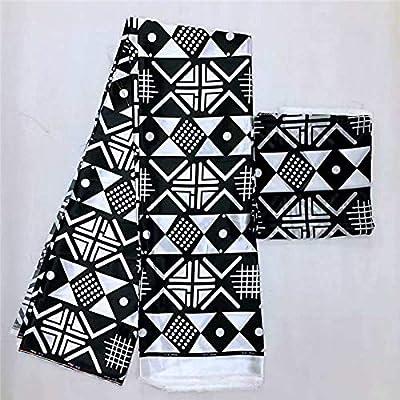 Satin Fabric | Black and White Ankara Fabric African Prints Silk Satin Fabric Wedding Dress Fabric Macthing 2Yards Chiffon Ankara Dashiki | by ATUSY