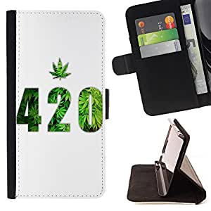 - 420 Weed weed Marijuana Kush Weed - - Style PU Leather Case Wallet Flip Stand Flap Closure Cover FOR LG OPTIMUS L90 - Devil Case -