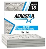 Aerostar 12x12x1 MERV 13 Pleated Air Filter, Pleated (Pack of 6)