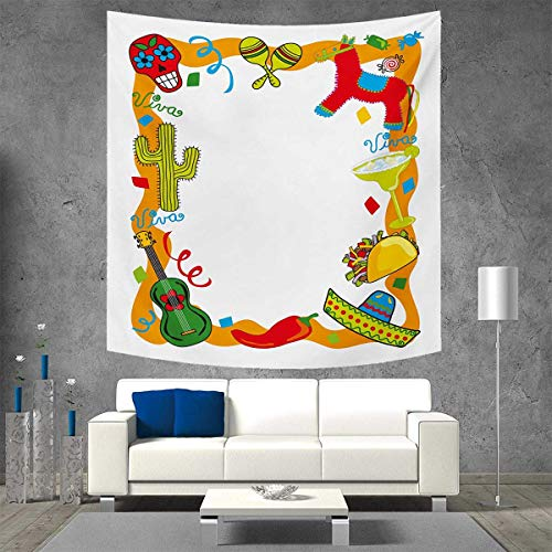 (Anniutwo Fiesta Customed Widened Tapestry Cartoon Drawing Style Mexican Pinata Taco Chili Pepper Sugar Skull Pattern Guitar Wall Hanging Tapestry 70W x 70L Inch)