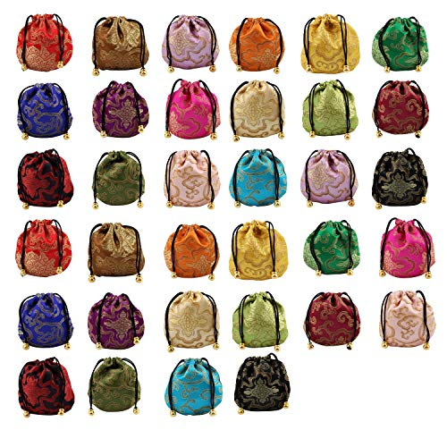 (Mother's taste BB 34pcs Silk Brocade Jewelry Pouch Bag, Drawstring Coin Purse, Gift Bag Value Set)