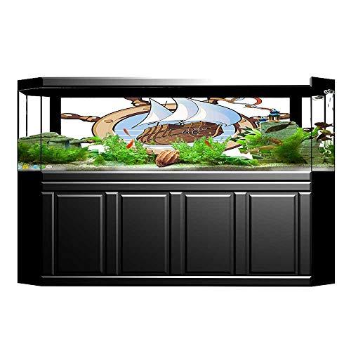 UHOO2018 Fish Tank Background Decor Image of Ship is in Framing of Steering Wheel Adventure Nautical Theme PVC Aquarium Decorative Paper 35.4