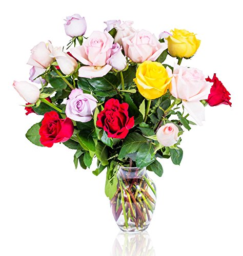 (FLWERZ [Touch of Elegance] Two Dozen Classic Aromatic Beautiful Blooming Multicolored Roses Gorgeous Long Stem Fresh-Cut Hand-Made Luxury Bouquet Arrangement of Rose Flowers w/Free clear 8 oz Vase)
