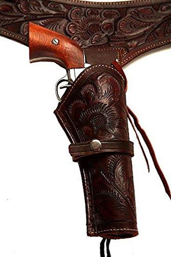 Belt Holster Colt - 44/45 Caliber Brown Long Barrel Cowboy Western Style Gun Holster and Belt (Size 36)