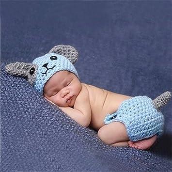 Jastore /® Foto Fotografie Prop Niedlich Baby Kost/üm blau Hund Stricken Handarbeit