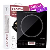 Sandoo HA1897 Induction Cooktop, 1800W Portable Electric Burner Stove, Safety Single Burner Countertop, Timer and 15 Temperature & Power Setting, Suitable for Cast Iron, Stainless Steel Cookware