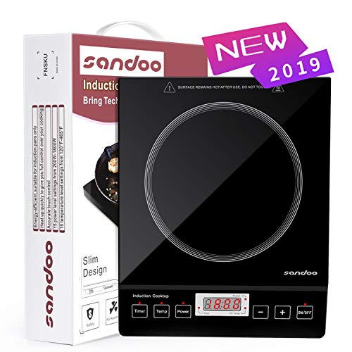 Sandoo HA1897 Induction Cooktop, 1800W Portable Electric Burner Stove, Safety Single Burner Countertop, Timer and 15 Temperature & Power Setting, Suitable for Cast Iron, Stainless Steel Cookware (Best Single Burner Cooktop)