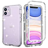 iPhone 11 Shockproof Glitter Case with Built-in Screen Protector, Slim Fit Anti-Drop Anti-Scratch Full-Body Protective Phone Case, [Lifetime Replacement] Rugged Bumper Case Cover Cubevit 2019(6.1')