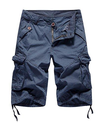 FOURSTEEDS Women's Casual Loose Fit Multi-Pockets Camouflage Twill Bermuda Cargo Shorts Navy Blue US 12 (Shorts Drawstring Capri)