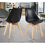 NOBPEINT Eames-Style Mid Century Dining Chairs,Set of 2(Black) For Sale