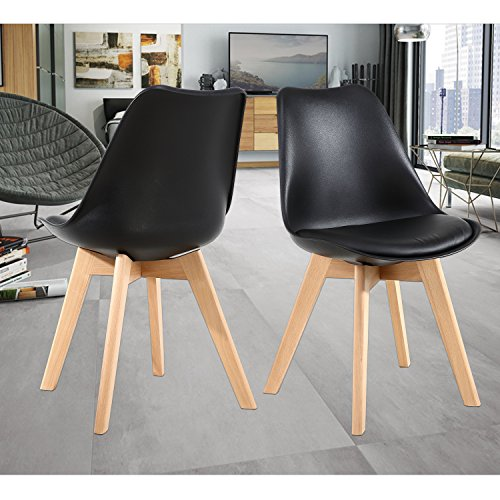 NOBPEINT Eames-Style Mid Century Dining Chairs,Set of 2(Black)