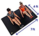 "Pogamat Large Exercise Mat 84"" x 48"" x 1/4"" Thick (7' x 4') Anti-Tear Workout Mat And Yoga Mats. Perfect For All Types Of Exercises. Does Not ""Bunch Up"" While Working Out. Used WITH Or Without SHOES"