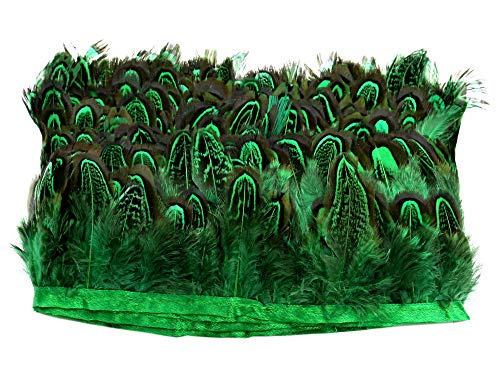 PANAX Cock Feathers on 2m/2.18 Yard Fabric Stripes - Around 4-6cm/1.5-2.5 Inches Feather Length, Ideal for Crafting, for Costumes, Carnival, disguises, Indian Parties, Decorations -
