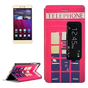 Telephone Booth Pattern Leather Case with Holder & Caller ID Display for Huawei P8