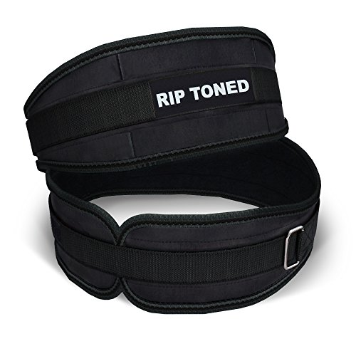 Lifting Belt By Rip Toned - 4.5 Inch Weightlifting Back Support - Powerlifting, Xfit, Bodybuilding, Strength & Weight Training, MMABonus Ebook (Medium/BLK - SIZE GUIDE IN IMAGES)