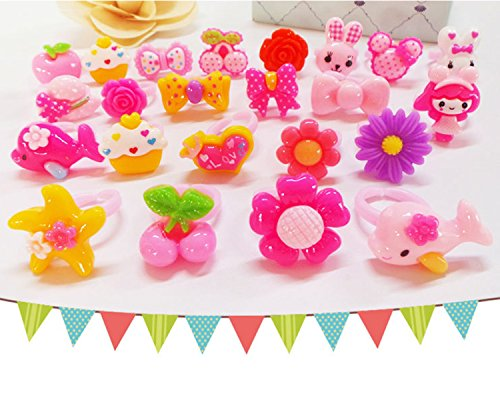 Acrylic Flowers Ring (50Pcs Cute Girls Princess Pink Cartoons Flowers Acrylic Resin Children Jewelry Rings Birthday Party Favors)