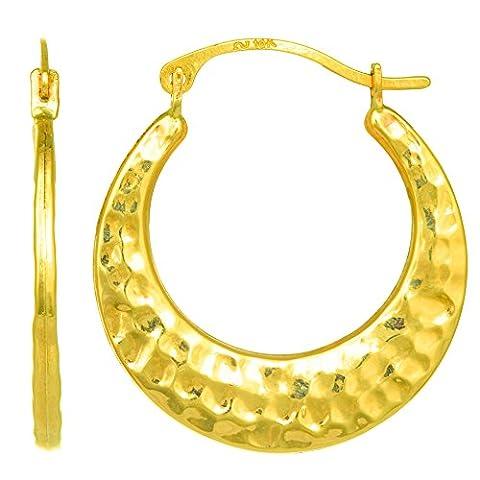 10k Yellow Gold Hammered Round Hoop Earrings, Diameter 20mm - Hammered Round Hoop