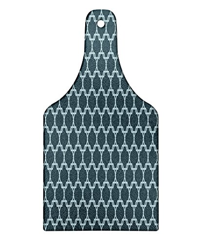Ambesonne Quatrefoil Cutting Board, Moroccan Style Oriental Pattern Ancient Antique Tiling Design, Decorative Tempered Glass Cutting and Serving Board, Wine Bottle Shape, Slate Blue and Pale Blue by Ambesonne