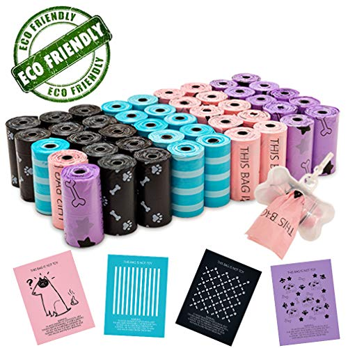 EXPAWLORER Dog Poop Bags with Dispenser – Eco-Friendly 45 Rolls / 900-Count Bone Printed Waste Bags for Dog and Cat.