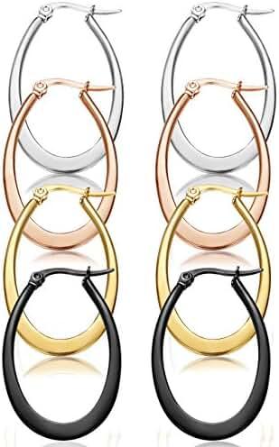 ORAZIO 4 Pairs Stainless Steel Rounded Hoop Earrings Cute Teardrop Huggie Earrings for Women, 35-50mm