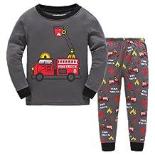 Boys Pajamas Fire Truck Childrens Pjs Long Sleeves Toddler Cotton Pjs Sleepwear