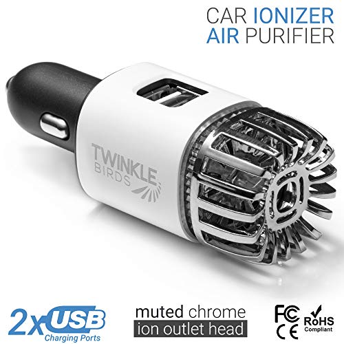 TwinkleBirds Car Air Purifier Ionizer - 12V Plug-in Car Air Freshener Ionic Deodorizer with 2.1 Amp Dual USB Charger - Smoke Smell, Pet and Food Odors, Allergens Eliminator for Car (Matte White)