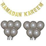1 SET Eid Mubarak Banner Glitter And EID Balloon Festival Bunting Muslim Mubarak Decoration Ramadan Supplies SILVER CAKE RK