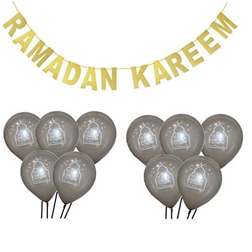 1 SET Eid Mubarak Banner Glitter And EID Balloon Festival Bunting Muslim Mubarak Decoration Ramadan Supplies SILVER CAKE RK by Happlu