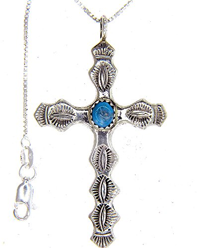 Made in the USA by Artist Pauline Nelson: Beautiful! Sterling-silver Navajo Turquoise Cross Pendant-necklaces 18 inch