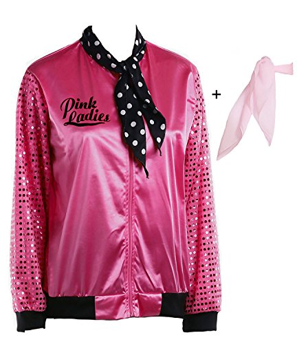 Yan Zhong 1950s Pink Ladies Satin Jacket Sequin Sleeve with Neck Scarf T Bird Women Costume Fancy Dress (Small) -