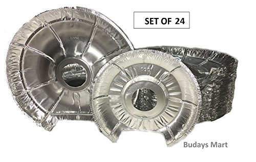 Electric Stove Bib Liner -Pack Of 24 -12 Large, 12 Small Electric Disposable Foil Burner Liners