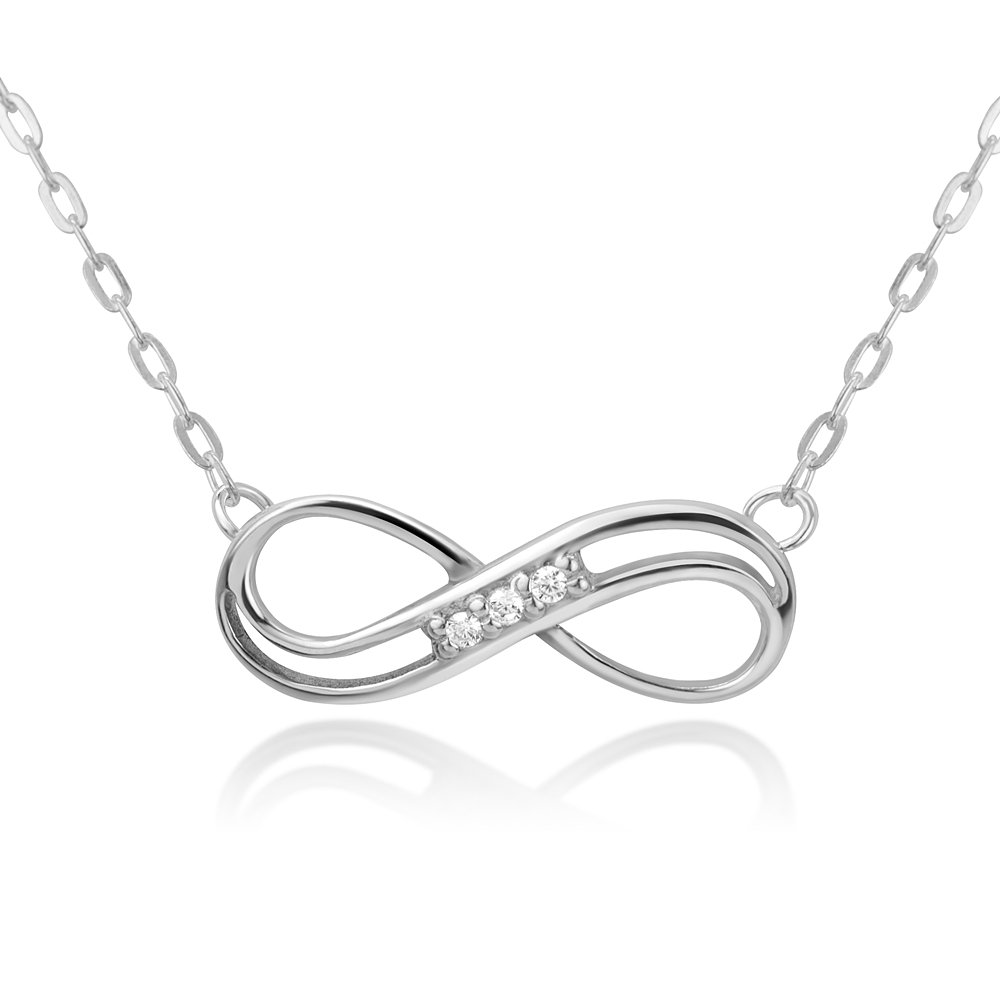 Chuvora Sterling Silver Cubic Zirconia Infinity Eternity Endless Love Symbol Pendant Necklace 16-18