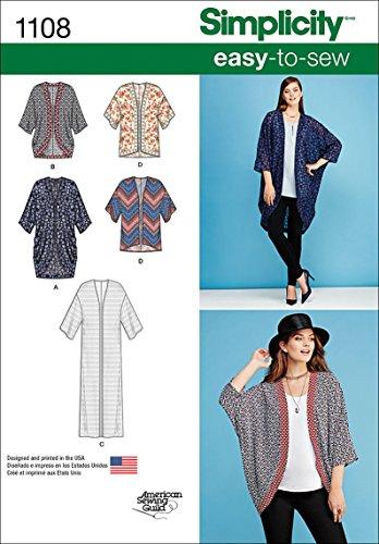 Simplicity 1108 Women's Kimono and Cardigan Sewing Pattern, Size XXS-XXL ()