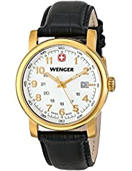 Wenger Mens 01.1041.110 Urban Classic 3H Gold-Tone Watch With Black Leather Band