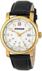 Wenger Men's 01.1041.110 Urban Classic 3H Gold-Tone Watch With Black Leather Band
