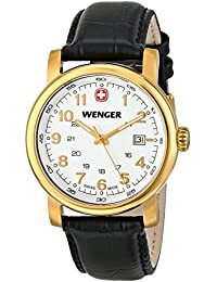Men's 01.1041.110 Urban Classic 3H Gold-Tone Watch With Black Leather Band